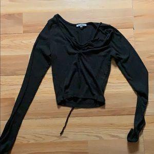 Black cropped long sleeve shirt